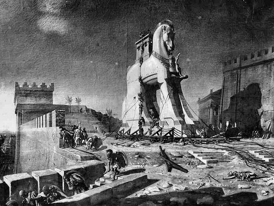 Trojan Horse --  Engraving from Henri-Paul Motte, Magasin Pittoresque, 1875.