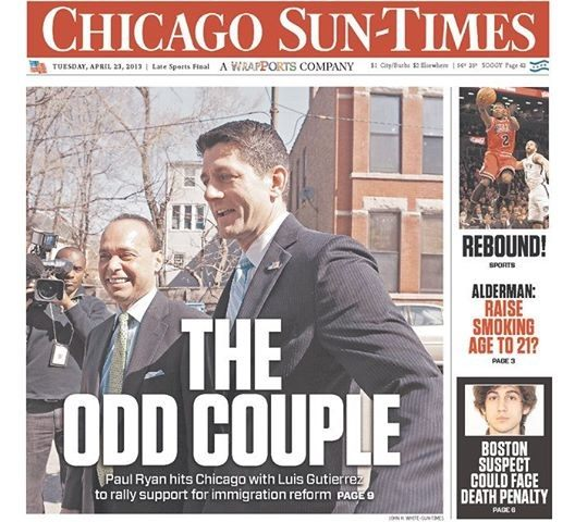 Immigration expansionist Paul Ryan pictured with advocate Luis Gutierriz in 2013. Chicago Sun-Times via Breitbart. Conservative Review's